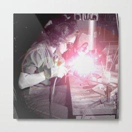 Vintage Female Welder Metal Print