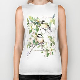 Chickadees and Dogwood Flowers Biker Tank