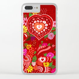 Love Hearts Flowers - Valentine's Day Gifts Clear iPhone Case