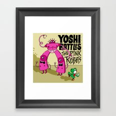 Yoshi Battles The Pink Robots Framed Art Print