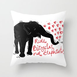 Ride bicycles not elephants. Black elephant, Red text Throw Pillow