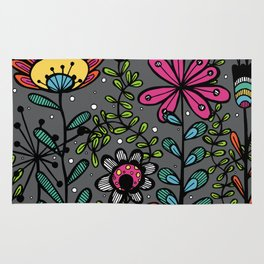 Weird and wonderful (Garden) - fun floral design, nature, flowers Rug