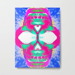 smiling pink skull head with blue and yellow background Metal Print