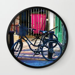 London Street Scene  - Parked Bicycle Wall Clock