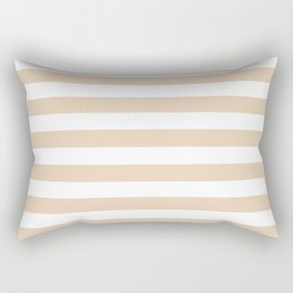 Narrow Horizontal Stripes - White and Pastel Brown Rectangular Pillow