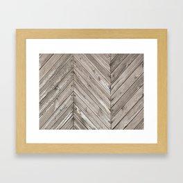 Herringbone Weathered Wood Texture Framed Art Print