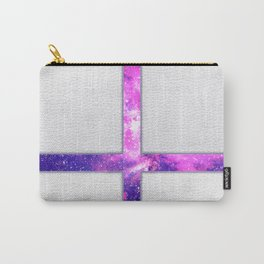 Hipster Purple Nebula Cross Modern Faux Leather Carry-All Pouch
