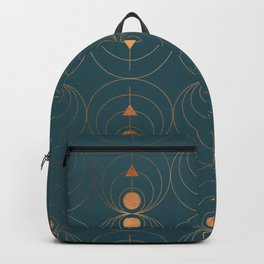 Copper Art Deco on Emerald Backpack