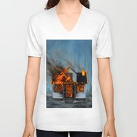 house V-neck T-shirts featuring House on Fire by FAMOUS WHEN DEAD