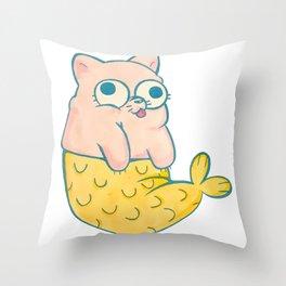 Meowmaid Throw Pillow