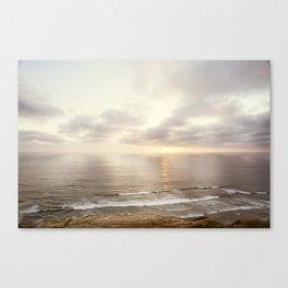 Neutral Sunset Pacific Ocean Photography, Brown Grey Seascape, California Coast Sea Landscape Canvas Print
