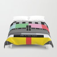 tv Duvet Covers featuring Tv signal 80's classic Television vintage by Patricia Pino