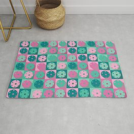 Pickleball sweet pastel retro pattern Rug