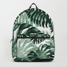 Tropical Monstera Jungle Leaves Pattern #1 #tropical #decor #art #society6 Backpack