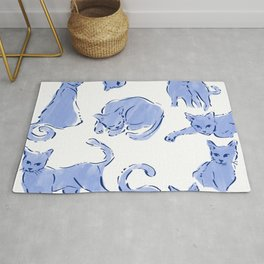 Cat Crazy blue white Rug