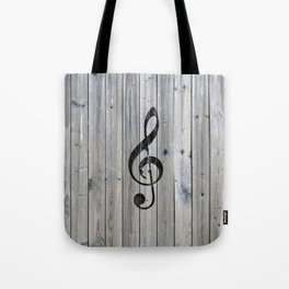 Vintage black music note Treble Clef gray wood Tote Bag