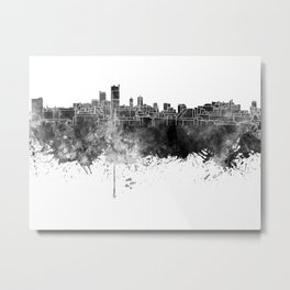 Leeds skyline in black watercolor on white background Metal Print