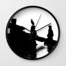 Perched Cormorant. Wall Clock