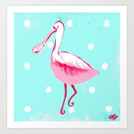 Pink Spoonbill Tropical Art Art Print