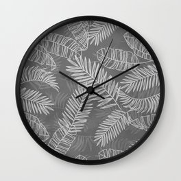 tropical leaves nature pattern in gray and white Wall Clock