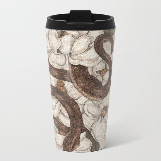 Snake and Magnolias Metal Travel Mug