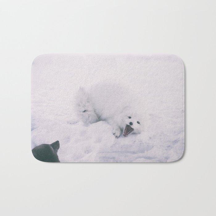 ARCTIC FOXES PLAYING Bath Mat