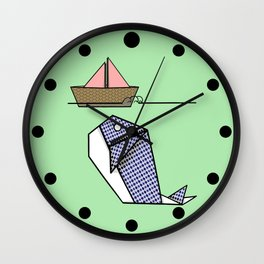 Origami Whale Wall Clock