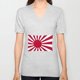 The rising sun Japemese flag in red and white Unisex V-Neck