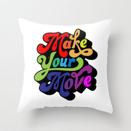 Typography Rainbow Quote wall Hanging poster Throw Pillow