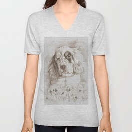 English Setter puppy Monochrome sgraffito Unisex V-Neck