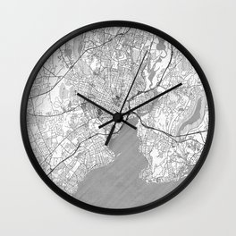 New Haven Map Line Wall Clock