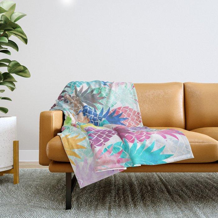 Hawaiian Pineapple Pattern Tropical Watercolor Throw Blanket