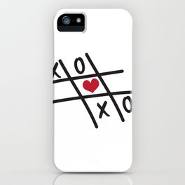 Tic Tac Toe XOXO and Red Heart iPhone Case
