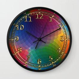 Rainbow Spectrum Rosettes Wall Clock