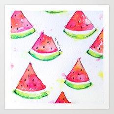 Watermelon Watercolor Print  Art Print