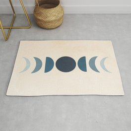 Moon Phases in Blue Rug