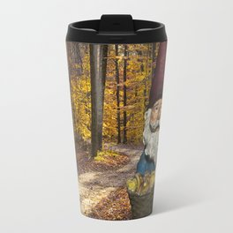 Gnome gathering mushrooms along a Forest Path in Autumn Travel Mug