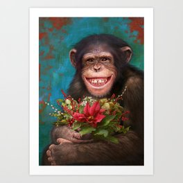 03. Christmas Chimpanzee Art Print