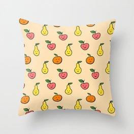 Fruit pattern apple orange pear Throw Pillow