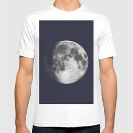 Waxing Gibbous Moon on Navy T-shirt