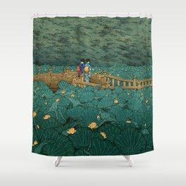 Vintage Japanese Woodblock Print Kawase Hasui Japanese Children Lotus Flowers Garden Wooden Bridge Shower Curtain
