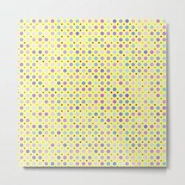 Random Lilac Dots on Yellow Pattern Metal Print