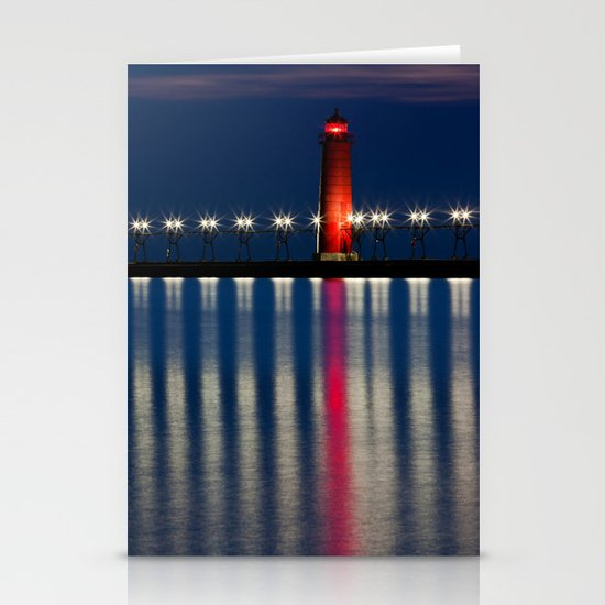 Grand Haven Pier Lighthouse and Reflections Stationery Cards