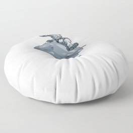 Spaced Out Astronaut Dolphin Outserspace Science Geek Floor Pillow