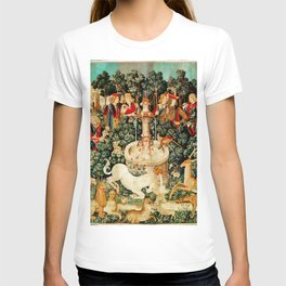 Hunt Of The Unicorn Medieval Tapestry T-shirt