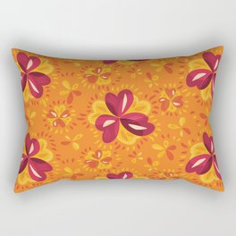 Orange And Pink Clover Abstract Floral Rectangular Pillow