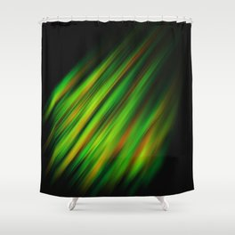 Colorful neon green brush strokes on dark gray Shower Curtain