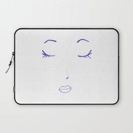 Purple Sleeping Beauty Minimalist Abstract Womankind Minimal Line Drawing Womans Face Laptop Sleeve