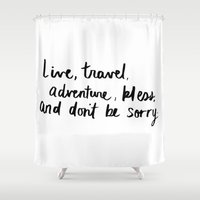 kerouac Shower Curtains featuring Live, Travel, Adventure by Lucky Number Seven Studio