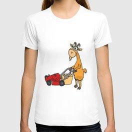 Funny Billy Goat Pushing Lawnmower Artwork T-shirt